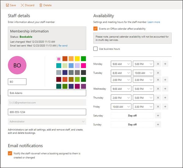Microsoft Bookings Profile
