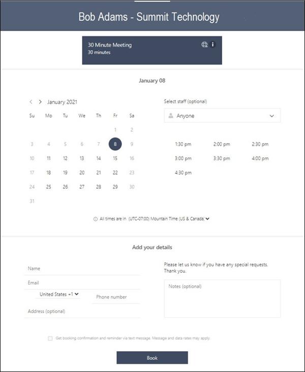 Microsoft Bookings Calendar